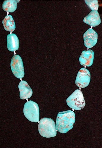 Genuine Turquoise Nugget Necklace Closeup